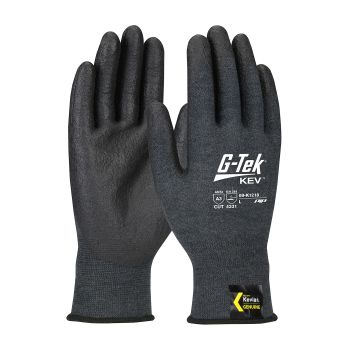 G Tek Kev Seamless Knit Kevlar® Glove  Neofoam Coated Grip  18 Gauge Gray  12 Pairs