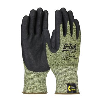 G Tek Kev Seamless Knit Kevlar® Glove  Nitrile Coated Foam Grip 13 Gauge Yellow  12 Pairs