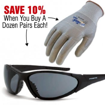 Save 10% When You Buy 1 Dozen Crossfire Core Safety Glasses and G-Tek Touch Gloves