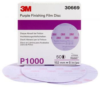 3M™ Hookit™ Purple Finishing Film Abrasive Disc 260L, 30669, 6 in, P1000, 50 discs per carton, 4 cartons per case