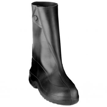 "Tingley Rubber Overshoe 10"" Work Boot Molded In Button For Secure Closure Black Cleated Outsole"