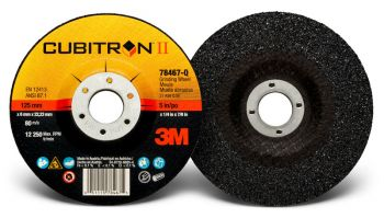 3M™ Cubitron™ II Depressed Center Grinding Wheel, 78467, T27, 5 in x 1/4 in x 7/8 in, 10 per inner, 20 per case