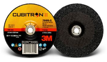 3M™ Cubitron™ II Depressed Center Grinding Wheel, 78469, T27, 4 in x 1/4 in x 3/8 in, 10 per inner, 20 per case