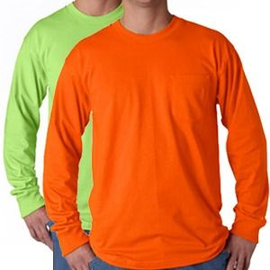 Safety Long Sleeve T-Shirt with Pocket - 100% Cotton