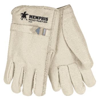 Road Hustler Premium Grain Leather Drivers Gloves with D-Strap