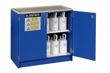 Wood laminate corrosives Undercounter safety cabinet holds thirty six 2 1/2 L bottles 2 doors Blue