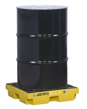 Justrite EcoPolyBlend Accumulation Center 1 drum recycled polyethylene Yellow