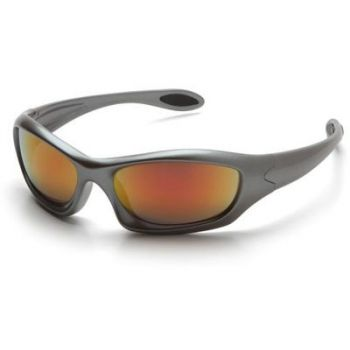 Zone III Safety Glasses - Sky Red Mirror Lens with Gun Metal Frame