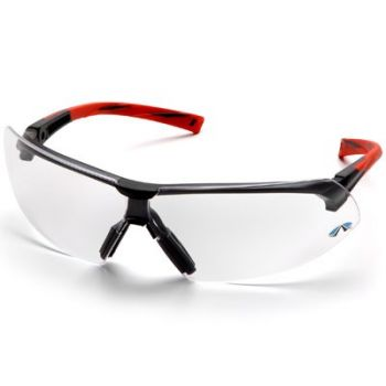 Pyramex Onix Safety Glass - Clear Lens with Orange Frame