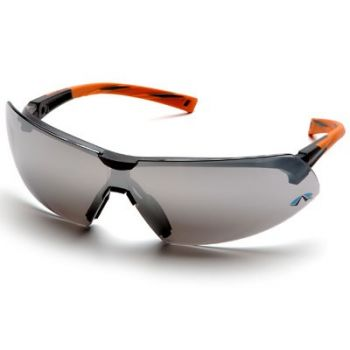 Pyramex Onix Safety Glass - Silver Mirror Lens with Orange Temples