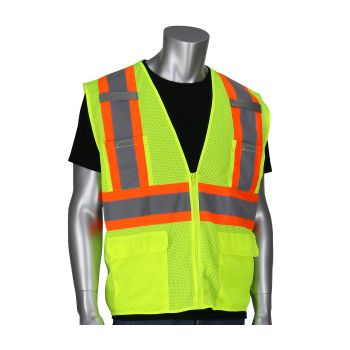 PIP ANSI Type R Class 2 Two Tone Six Pocket Mesh Polyester Safety Vest Zipper closure Small  50 / Box
