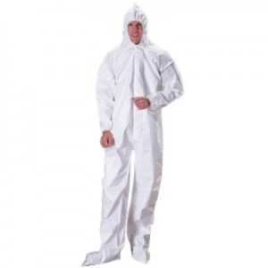 Dupont Tychem SL Coveralls with Attached Hood, Boots and Elastic Wrists - Bound Seams Color White 12/Case