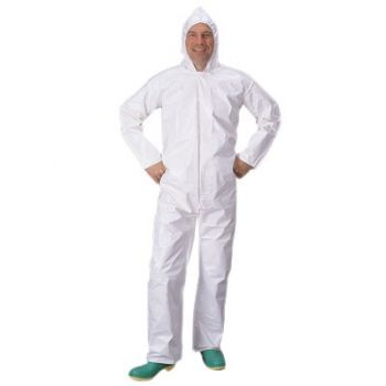DuPont™ Tychem SL Coveralls with Attached Hood - White Color Bound Seams 12/Case