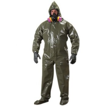 Tychem LV Coveralls with Respirator Fit Hood, Attached Boots and Elastic Wrists/Face