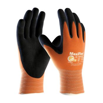 PIP 34-8014/L ATG Hi Vis Seamless Knit Nylon Glove with Nitrile Coated MicroFoam Grip on Palm & Fingers Large 12 DZ