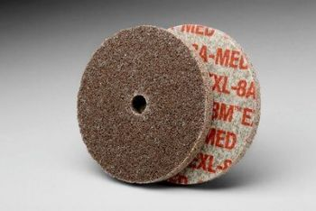 3M™ Scotch-Brite™ EXL Unitized Wheel, 3 in x 1/8 in x 1/4 in 8A MED, 40 per case