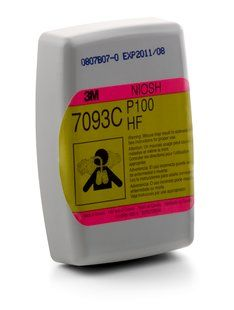 3M™ Hydrogen Fluoride Cartridge/Filter 7093C, P100, with Nuisance Level Organic Vapor and Acid Gas Relief (30 Pairs)