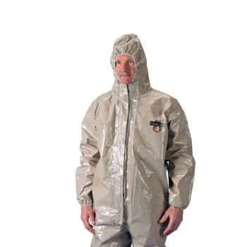 ChemMax 4 Coverall  Respirator Fit Hood Boots & Double Storm Flap  Tan (Case of 6)