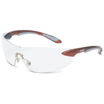 Uvex Ignite Safety Glasses - Red Temples, Clear Lens
