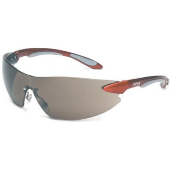 Uvex Ignite Safety Glasses - Red Temples, Gray Lens