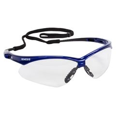 Jackson Safety Nemesis Safety Glasses, Clear Anti-Fog Lenses with Metallic Blue Frame, 12/Box