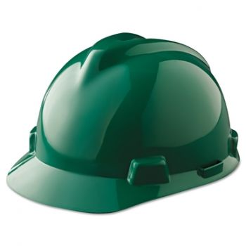 MSA Hard Hat V-Gard Slotted Cap, Green, Fas-Trac III Suspension (1 EA)