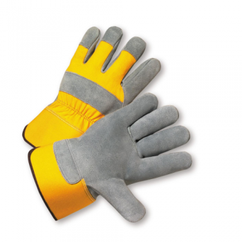 West Chester 500Y Yellow Premium Split Cowhide Palm Rubberized Cuff Gloves