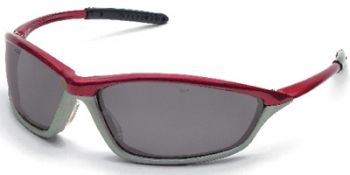 Shock Safety Glasses with Crimson/Stone Frame and Grey Anti-Fog Lens