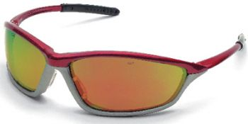 MCR Shock Safety Glasses with Crimson/Stone Frame and Fire Mirror Lens 12 Pairs