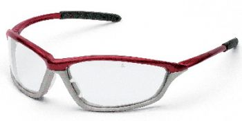 Shock Safety Glasses with Crimson/Stone Frame and Clear Anti-Fog Lens
