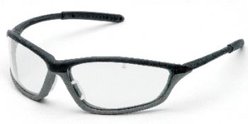 Shock Safety Glasses with Black/Grey Frame and Clear Anti-Fog Lens