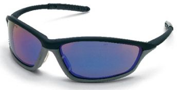 Shock Safety Glasses with Black/Grey Frame and Blue Diamond Lens