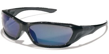 ForceFlex Safety Glasses with Black Frame and Blue Mirror Lens