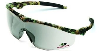 Storm Safety Glasses with Mossy Oak Camo Frame and 1236 Mirror Lens