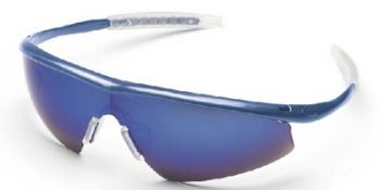 Tremor Safety Glasses with Indigo Blue Frame and Blue Mirror Lens