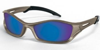 Tribal Safety Sunglasses with Champagne Frame and Blue Diamond Mirror Lens (1 Dozen)
