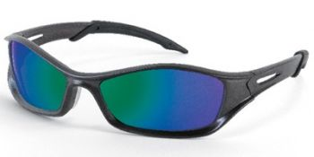 Tribal Safety Sunglasses with Graphite Frame and Emerald Mirror Lens
