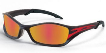 Tribal Safety Sunglasses with Tattoo Frame and Fire Mirror Lens