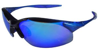 Radians Rad-Infinity Safety Glasses with Blue Frame and Blue Mirror Lens Glasses 12 Pairs