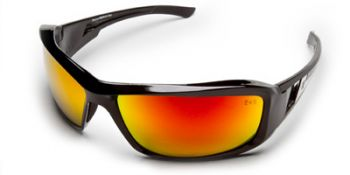 Brazeau Safety Glasses with Black Frame and Aqua Precision Red Mirror Lens