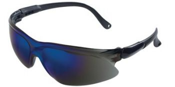 Jackson Safety Visio Safety Glasses with Black Temple and Blue Mirror Lens 12 Pairs