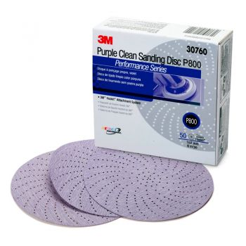 3M™ Hookit™ Purple Clean Sanding Disc 334U, 30760, 6 in, P800 grade, 50 discs per carton, 4 cartons per case
