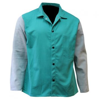"""CPA 600-GR-CLSLV 30"""" Green FR Cotton & Leather Combo Jacket"""