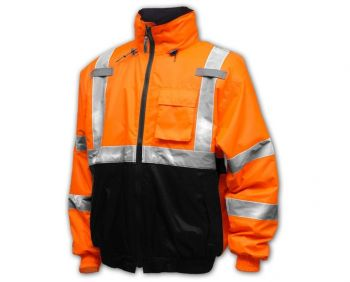 Tingley Bomber II Jacket Fluorescent Orange-Red-Black Silver Reflective Tape Polyester Quilted Liner Attached Hood