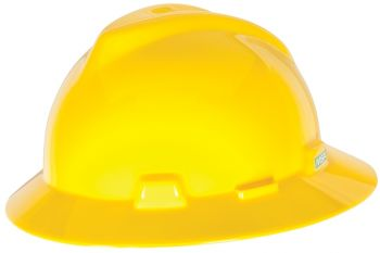 MSA Yellow V Gard Polyethylene Slotted Full Brim Hard Hat  Fas Trac Ratchet Suspension (1 EA)