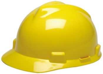 MSA Hard Hat V Gard Slotted Cap Yellow Fas Trac III Suspension (1 EA)