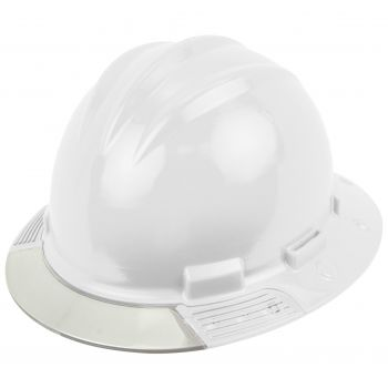 Bullard White AboveView HDPE Full Brim Hard Hat Flex Gear 4 Point Ratchet Suspension