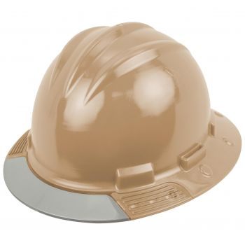 Bullard Tan AboveView HDPE Full Brim Hard Hat  Flex Gear 4 Point Ratchet Suspension 20/Case
