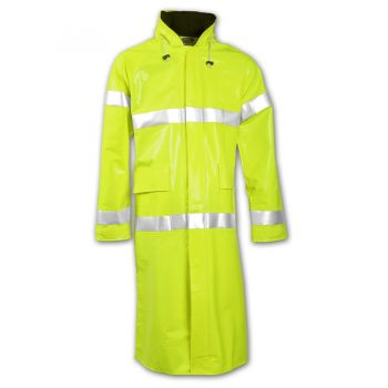 Electra Coat Fluorescent Yellow-Green Attached Hood Silver Reflective Tape