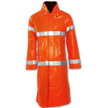 Tingley Electra Coat Fluorescent Orange-Red Attached Hood Silver Reflective Tape